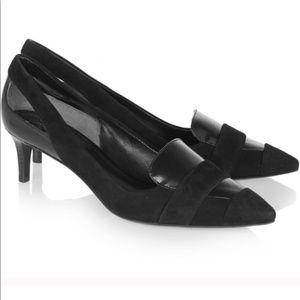 TORY BURCH Saray Black Leather Kitten Heels 7.5